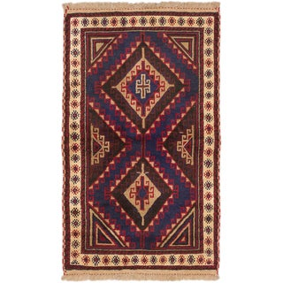 eCarpetGallery Hand-knotted Royal Balouch Blue/Red Wool Rug (2'10 x 4'10)