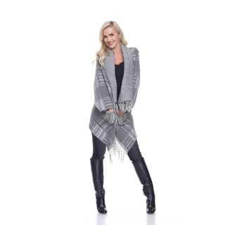 White Mark Women's Plaid High/Low Hem Cardigan