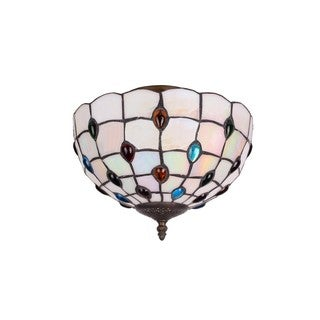 Beige Stained Glass 12-inch Round Peacock Tiffany-style Flush-mount Light