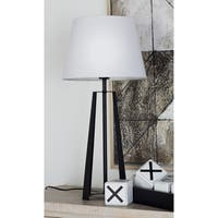 Benzara Enthralling Black/ White Metal Table Lamp