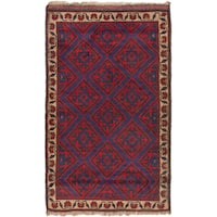 eCarpetGallery Blue/Red Wool Hand-knotted Teimani Rug (2'10 x 4'8)