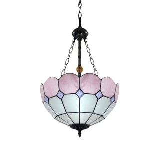 Tiffany-style Pink Stained Glass 16-inch 2-light Hanging Lamp