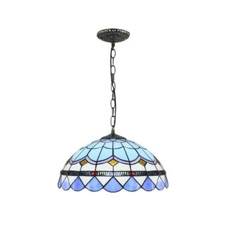 Tiffany-style White, Green, and Blue Art Glass 16-inch Grid Hanging Lamp