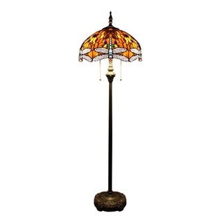 Tiffany-style Dragonfly Orange Stained Glass and Antique-bronze-finished Resin 16-inch Floor Lamp
