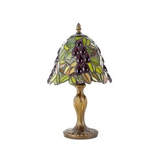 Glass Resin 8-inch Grape Jeweled Tiffany-style Table Lamp