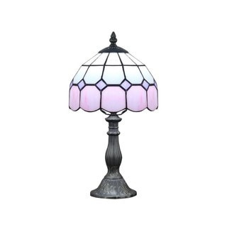 Tiffany-style Pink Glass and Resin Table Lamp