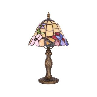 Purple Flower 8-inch Tiffany-style Table Lamps