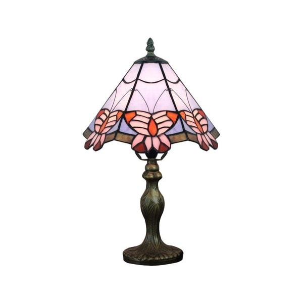 Shop Tiffany Style Pink Butterfly Table Lamp Free Shipping Today