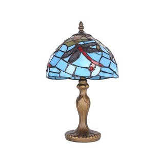Blue Stained Glass Tiffany-style 8-inch Dragonfly Table Lamp