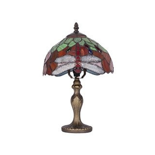 Tiffany-style Diamond Dragonfly Glass and Resin 8-inch Table Lamps