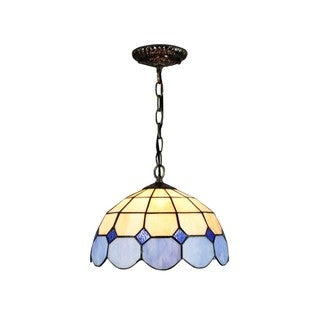 LampsNext Blue Stained Glass and Bronze Resin 12-inch Tiffany-style Hanging Lamp