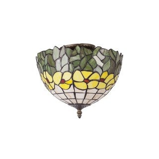 Tiffany-style Green and Yellow Flowers Stained Glass and Antique-bronze-finished Resin 12-inch Flush-mount Light Fixture