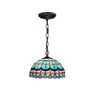 Blue Glass Resin 12-inch Tiffany-style Hanging Lamp