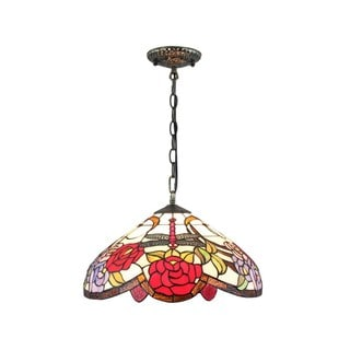 Rose Stained Glass Tiffany-style 16-inch Hanging Lamp