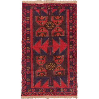 eCarpetGallery Kazak Blue, Red Wool Hand-knotted Rug (2'9 x 4'6)