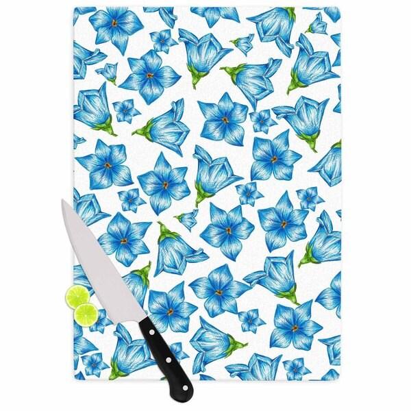 """Kess InHouse Alisa Drukman """"Blue Flowers"""" Floral Pattern Cutting Board"""
