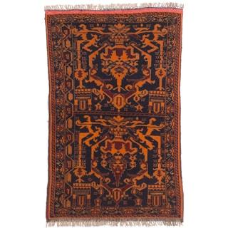 eCarpetGallery Mouri Blue/Orange Wool Hand-knotted Rug (2'8 x 4'3)