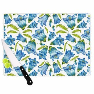 "Kess InHouse Alisa Drukman ""Campanula"" Floral Blue Cutting Board"