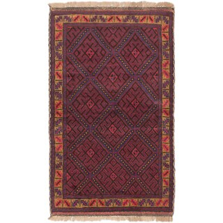 eCarpetGallery Hand-knotted Teimani Blue/Red Wool Rug (2'9 x 4'7)