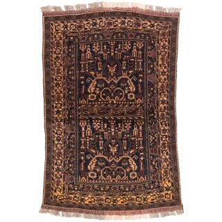 eCarpetGallery Finest Mouri Blue/Brown Wool Hand-knotted Rug (3' x 4'5)
