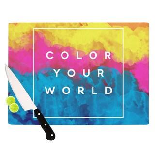 "Kess InHouse Galaxy Eyes ""Color Your World"" Rainbow Paint Cutting Board"