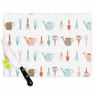"Kess InHouse afe images ""Gardening Tools Pattern"" Teal Abstract Cutting Board"