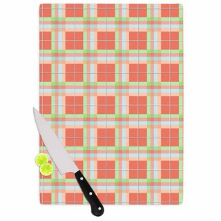 Kess InHouse afe images 'Summer Plaid Pattern' Coral Pattern Glass Cutting Board