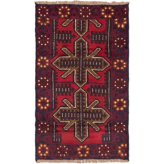 eCarpetGallery Baluch Red Wool Hand-knotted Rug (2'9 x 4'6)