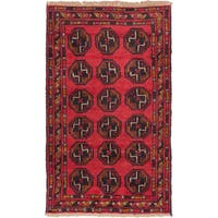 eCarpetGallery Red Wool Hand-knotted Bahor Rug (2'9 x 4'5)