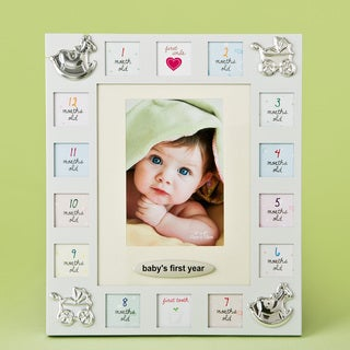 Off-white Aluminum Baby's First Year Collage Frame