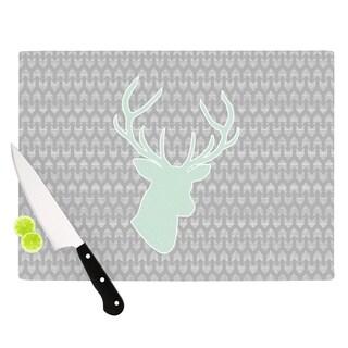 "Kess InHouse Pellerina Design ""Winter Deer"" Gray Green Cutting Board"