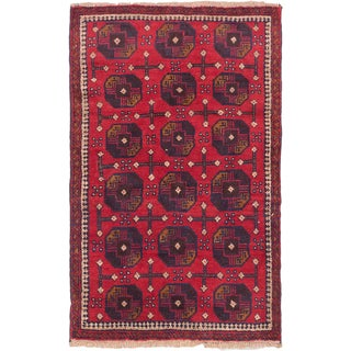 eCarpetGallery Bahor Red Hand-knotted Wool Rug (2'10 x 4'6)