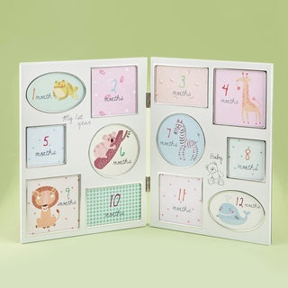 First Year Off-white Metal Hinged Baby Collage Frame