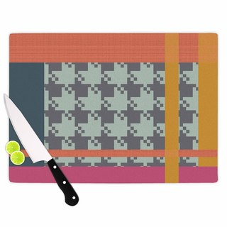 "Kess InHouse Pellerina Design ""Houndstooth Color Block"" Multicolor Contemporary Cutting Board"