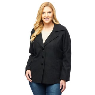 Lee Cobb Women's Walker Black Wool-blend Plus-size Single-breasted Coat