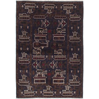 eCarpetGallery Blue Wool Hand-knotted Rare War Rug (2'3 x 4'7)