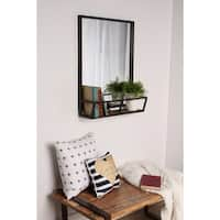 Kate and Laurel Jackson Decorative Rustic Black Metal Home Organizer Mirror With Shelf - 22x29