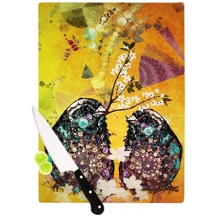 "Kess InHouse alyZen Moonshadow ""Birds In Love Yellow"" Orange Gold Cutting Board"