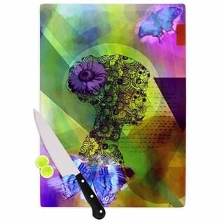 """Kess InHouse alyZen Moonshadow """"SILHOUETTE (DARK)"""" Green Purple Cutting Board"""
