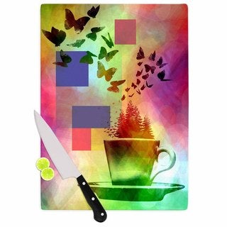 "Kess InHouse AlyZen Moonshadow ""TEACUP FANTASY"" Pink Birds Cutting Board"