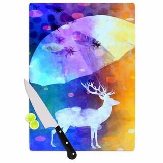 """Kess InHouse alyZen Moonshadow """"RAIN DEER"""" Purple Yellow Cutting Board"""