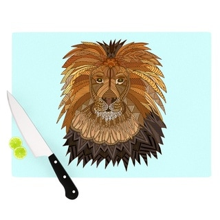 "Kess InHouse Art Love Passion ""Lion"" Blue Brown Cutting Board"