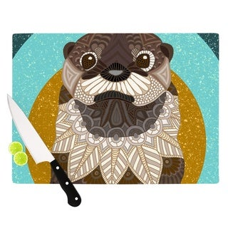 """Kess InHouse Art Love Passion """"Otter in Water"""" Blue Brown Cutting Board"""