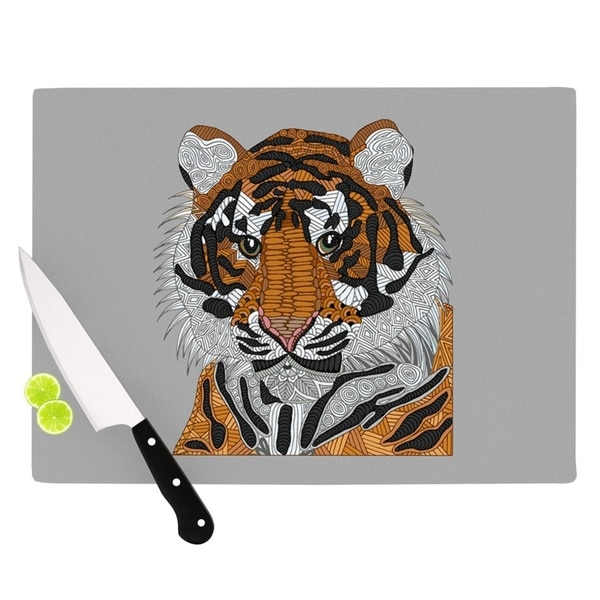 "Kess InHouse Art Love Passion ""Tiger"" Gray Orange Cutting Board"
