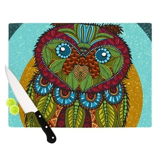 "Kess InHouse Art Love Passion ""Owl"" Teal Multicolor Cutting Board"