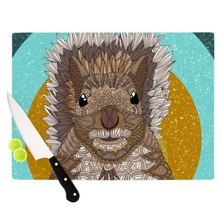 """Kess InHouse Art Love Passion """"Squirrel"""" Teal Brown Cutting Board"""