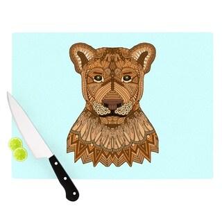 "Kess InHouse Art Love Passion ""Lioness"" Blue Brown Cutting Board"