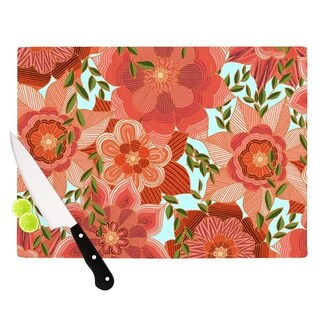"""Kess InHouse Art Love Passion """"Flower Power"""" Red Floral Cutting Board"""