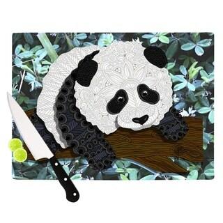 "Kess InHouse Art Love Passion ""Panda"" Black White Cutting Board"