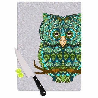 """Kess InHouse Art Love Passion """"Great Green Owl"""" Teal Gray Cutting Board"""